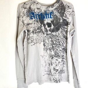 ARCHAIC by AFFLICTION SKULL Men's Thermal Shirt
